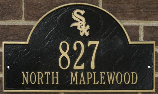 Chicago White Sox Black And Gold Personalized Address Wall Plaque