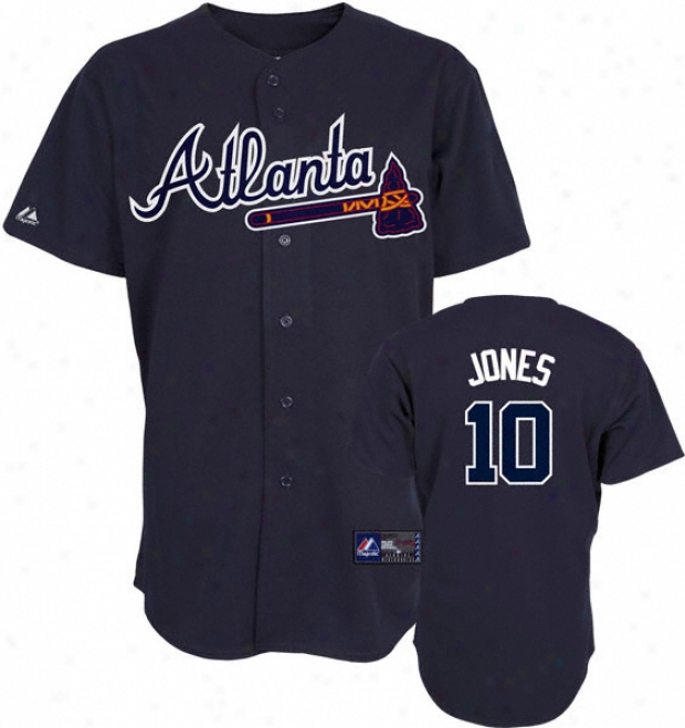 Chipper Jones Jersey: Adult Majestic Alternate Navy Replica #10 Atlanta Braves Jersey