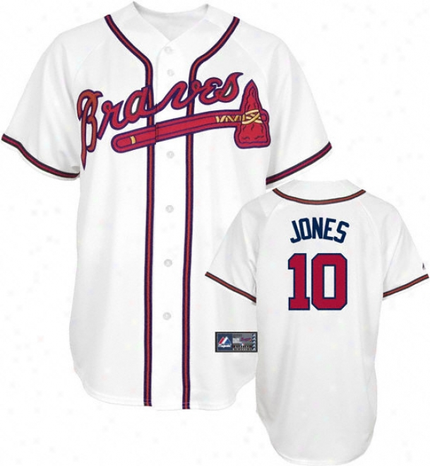 Chipper Jones Jersey: Adult Maajestic Home White Replica #10 Atlanta Braves Jersey