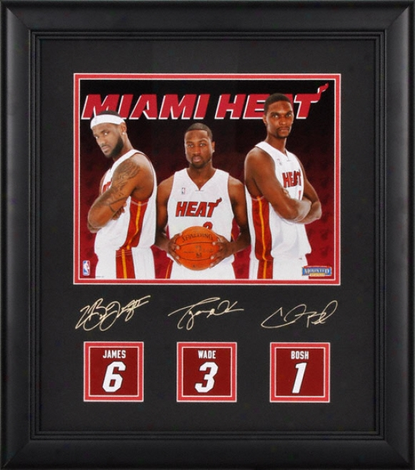 Chris Bosh, Lebron James And Dwyane Wade Miami Heat 8x10 Photograph With Jersey Back Replicas And Facsimile Signatures