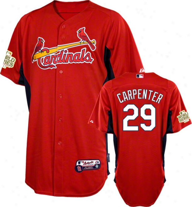 Chris Carpenter Jersey: St. Louis Cardinals #29 Scarlet Authentic Cool Baseã¢â�žâ¢ On-field Batting Practice Jersey With 2011 World Series Participant Patch