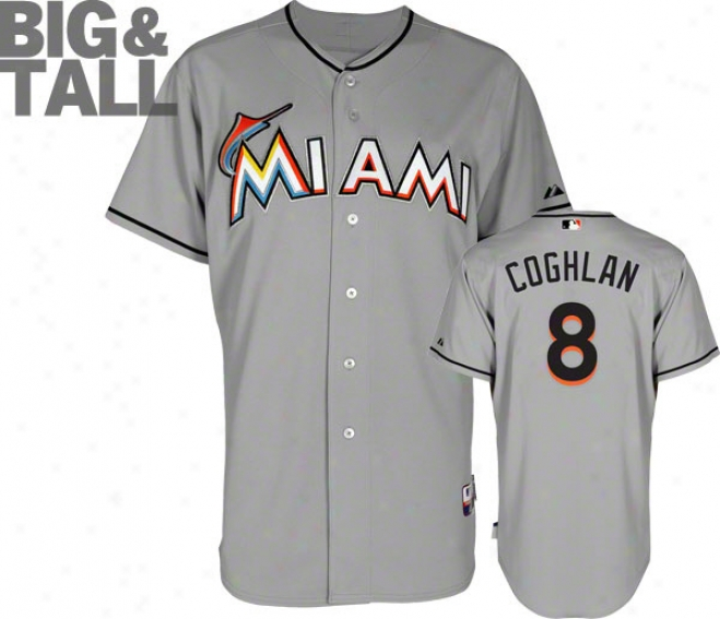 Chris Coghlan Jersey: Big & Tall Miami Marlins #8 Road Grey Authentic Cool Baseã¢â�žâ¢ Jersey