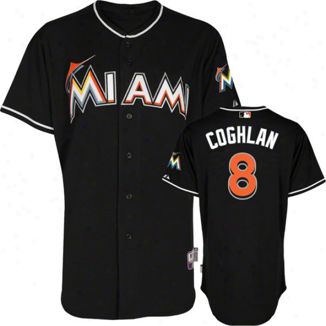 Chris Coghlan Jersey: Miami Marlins #8 Alternate Black Authentic Cool Baxeã¢â�žâ¢ Jersey