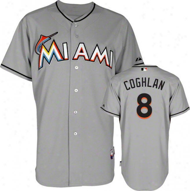 Chriis Coghlan Jersey: Miami Marlins #8 Road Grey Authentic Cool Baseã¢â�žâ¢ Jersey