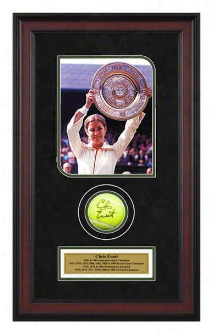 Chris Evert Framed Autographed Tennis Ball With Photo