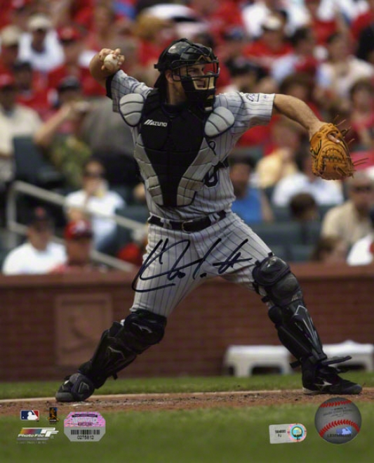 Chris Iannetta Autographed 8x10  Details: Colorado Rockiees, Catching