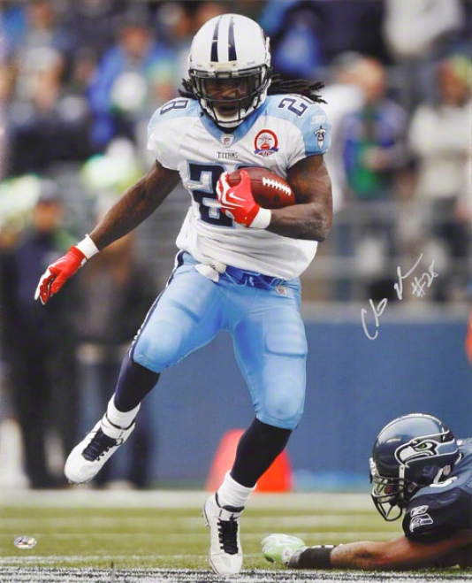 Chris Johnson Autographed 16x20 Photograph  Details: Tenneessee Titans, Silvver Ink