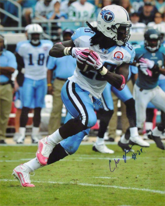 Chris Johnson Autographed 16x20 Photograph  Detalls: Tennessee Titans, Pink Cleats And Gloves