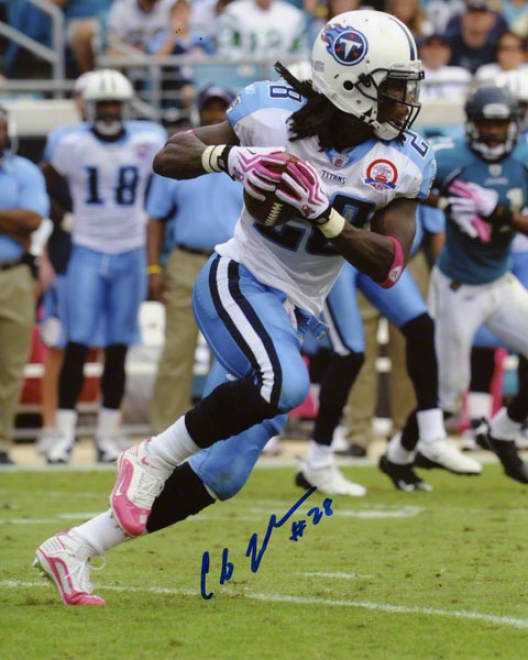 Chris Johnson Autographed 8x10 Photograph  Details: Tennessee Titans, Pink Cleats And Gloves