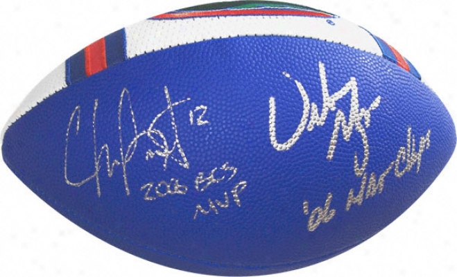 Chris Leak And Urban Meyer Dual Autographed Football With 2006 Bcs Mvp And 2006 Champs Inscriptions