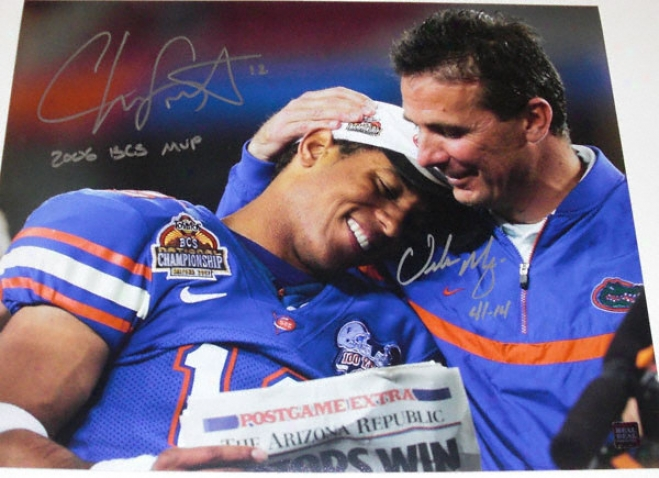 Chris Leak And Urban Meyer Florida Gators 2006 National Championship Dual Autographed 8x10 Photograph With 2006 Bcs Mvp And 41-14 Inscriptions