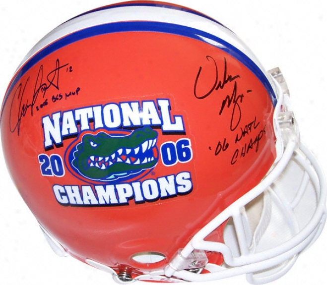 Chris Leaking And Urban Meyer Florida Gators Dual Autographed National Cgampionship Logo Helmet With 2006 Bcs Mvp And 2006 Champs Inscirptions