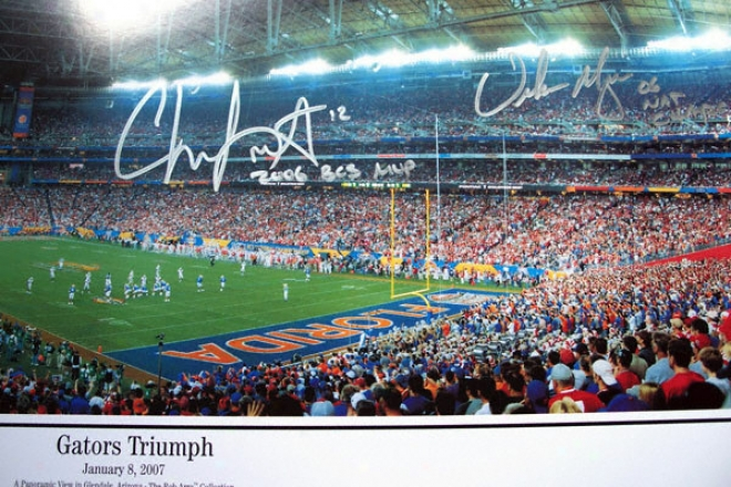 Chris Leak And Urban Meyer Florida Gators - National Championship - Dual Autographed 13x39 Panoramic Photograph With 2006 Champs! And 06 Nat Champs Inscriptions