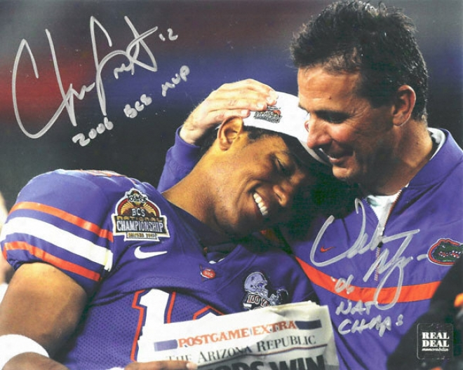 Chris Leak And Urban Meyer Florida Gators - National Championship - Dual Autographed 8x10 Photograph With 2006 Bcs Mvp And 2006 Champs Inscriptions
