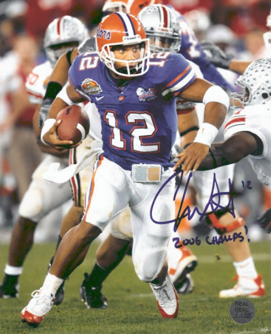 Chrks Leak Autographed Florida Gators National Championship Action 8x19 Photo With &quot2006 Champs!&quot Inscription