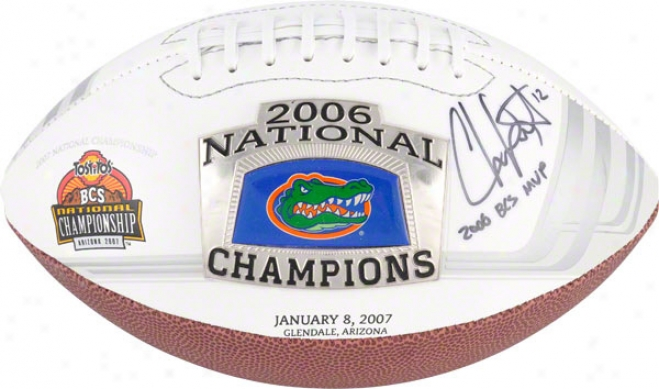 Chris Leak Aitographed Football  Details: Florida Gators, '06 National Champs Logo Pro Ball, With &quot2006 Bcs Mvp&quot Inscription
