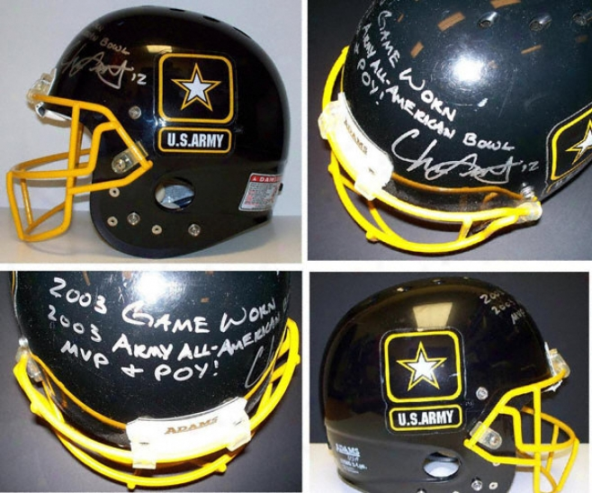 Chris Leak Autographed Game Worn Army All-american Full Size Helmet With 2003 Game Worn. 2003 Army Alp American Hollow Mvp & Poy Inscriptions