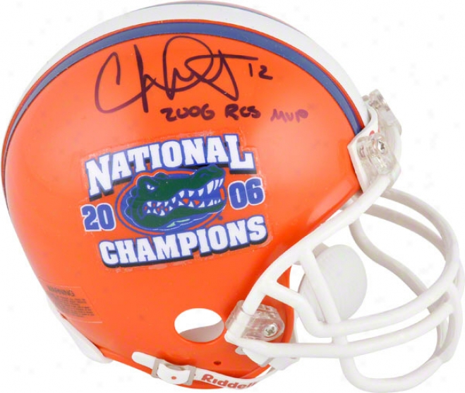 Chris Leak Aut0graphed Mini Helmet  Details: Florida Gators, 2006 National Champs Logo, With &quot2006 Bcs Mvp&quot Inscription