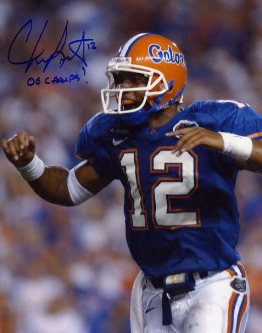 Chris Leak Florida Gators Autographed 8x10 Phot W/ Inscription &quot06 Champs&quot