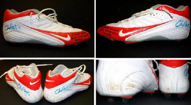 Chris Leak Florida Gators Autographed Quarry Worn Shoes With Game Worn Bcs Title Game 2006 Inscriotion