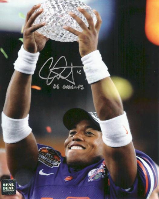 Chris Leak Florida Gators - National Championship Trophy - Autographed 8x10 Photograph With 06 Champs Inscription