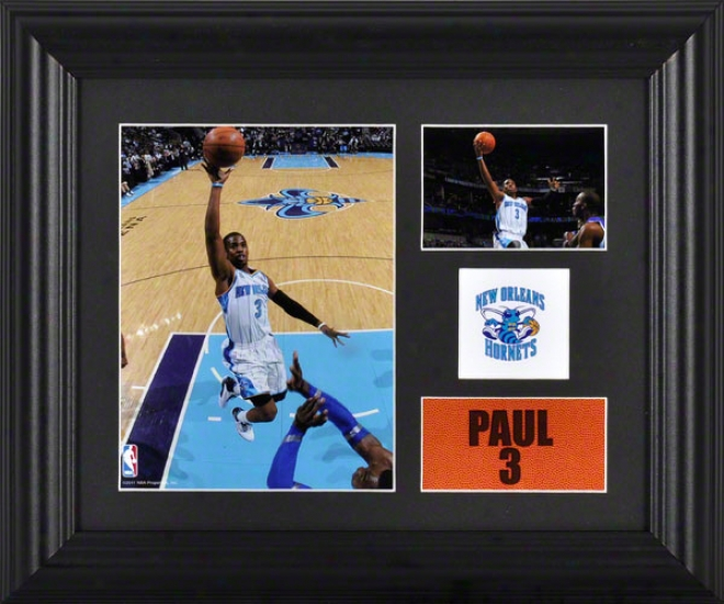 Chris Paul Framed 2- Photograph Collage  Details: Repaired Orleans Hornets, Team Logo