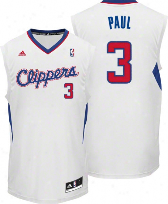 Chris Paul Jersey: Adidas Revolution 30 White Replica #3 Los Angeles Clippers Jersey