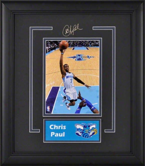 Chris Paul New Orleans Hornets Framed 6x8 Photograph With Facsimile Signature And Plate
