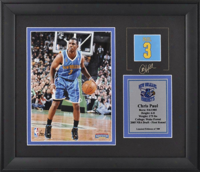 Chris Paul Unaccustomed Orleans Hornets Framed 6x8 Photograph With Facsimile Signature And Plate - Limited Edition Of 500