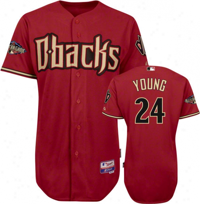 Cris Young Jersey: Arizona Diamondbacks #24 Alternate Brick Authentic Cool Baseã¢â�žâ¢ On-field Jersey With 2011 All-star Game Patch
