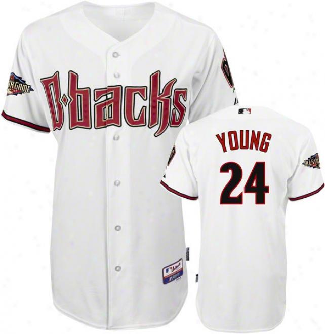 Chris Y0ung Jedsey: Arizona Diamondbacks #24 Home White Authebttic Cool Baseã¢â�žâ¢ On-field Jersey With 2011 All-star Game Patch