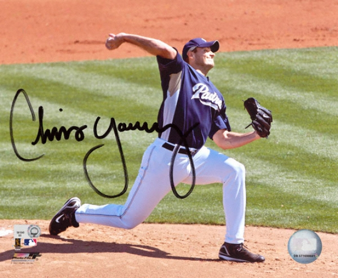 Chris Young San Diego Padres -W ind Up Purple - Autographed 8x10 Photograph