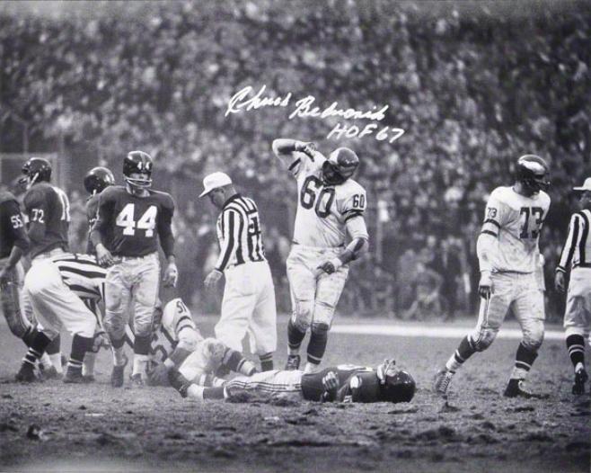 Chuck Bednarik Autographed 16x20 Photograph  Details: Philadelphia Eagles, Horizontal, Silver Ink, With &quothof 67&quot Inscription