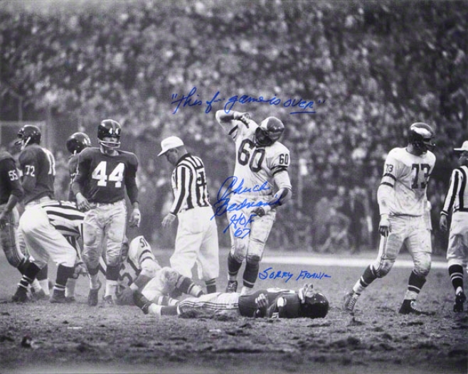 Chuck Bednarik Autographed 16x20 Photograph  Details: Philladelphia Eagles, Horizontal, Over Frank Gifford, With &quothof 67 / This Fã¢â'¬â¦ Game Is Over! Grieved Fran