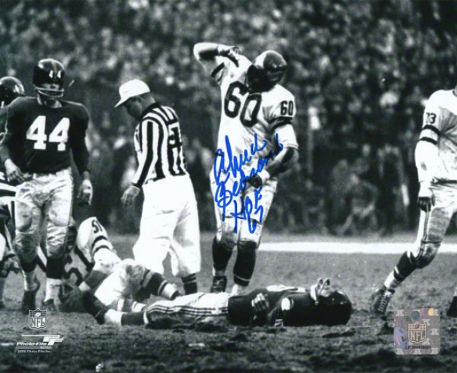 Chuck Bednarik Autographhed Photoraph  Details: Philadelphia Eagles, Hof 67 Inscription, Horizontal Print, 8x10
