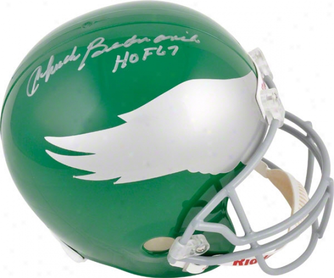 Chuck Bednarik Autographed Replica Helmet Details: Philadelphia Eagles, With &quothof 67&quot Inscription
