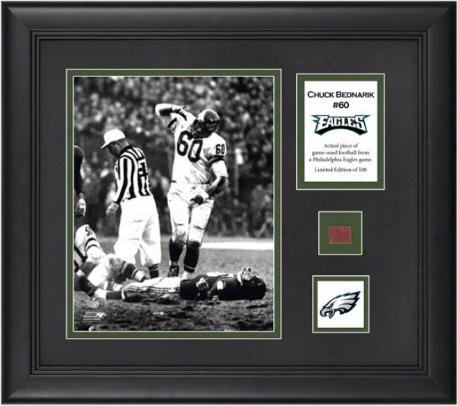 Chuck Bednarik Framed 8x10 Photograph  Details: Philadelphia Eavles, With Game Used Football Composition And Descriptive Plate