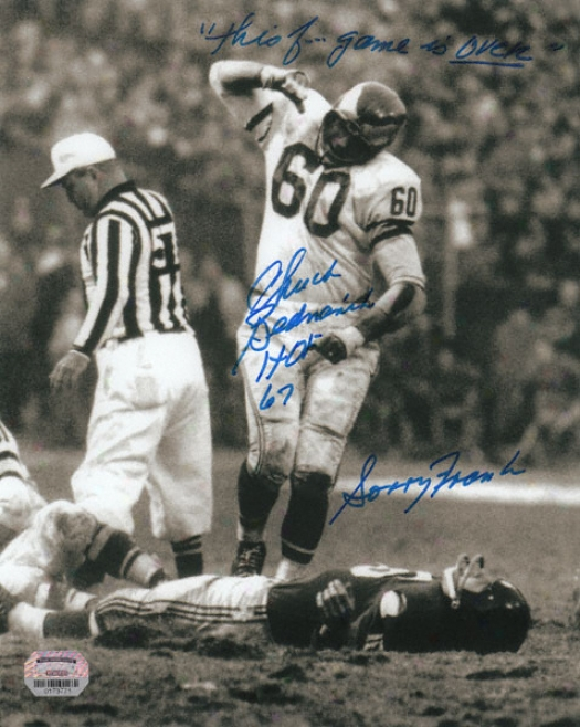Chuck Benarik Autographed Photograph  Details: Phuiadelphia Eagles, &quotthis F.ing Game Is Over&quot, Hof 67, And Sorry Frank Inscriptions, 8x10