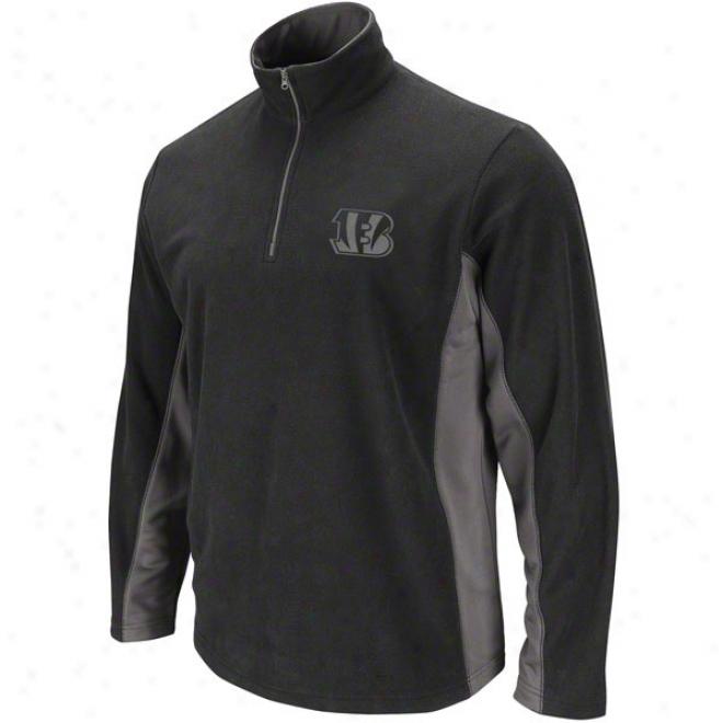 Cincinnati Bengals Black Fade Route Ii 1/4 Zip Pullover Micro Chiller Fleece Jacket