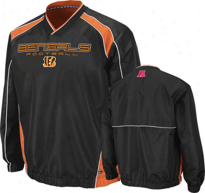 Cincinnati Bengals Coach's Choice Ii Black Lightweight Pulloer Jacket