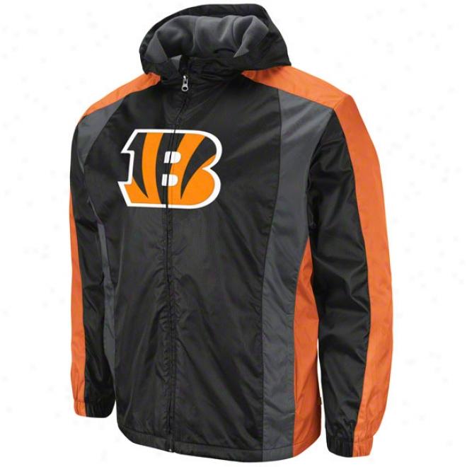 Cincinnati Bengals Endzone Rush Ii Black Midweiyht Full-zip Jacket