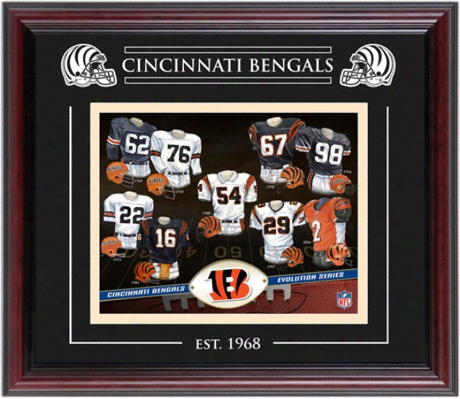 Cincinnati Bengals - Evolution - Framed 8x10 Collage With Laser Etching