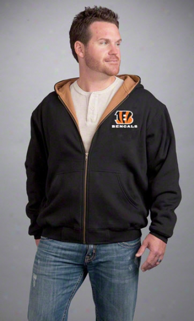 Cincinnati Bengals Jacket: Black Reebok Hooded Craftsman Jerkin