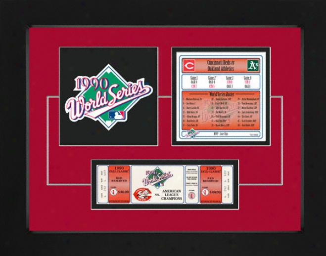 Cincinnati Reds 1990 World Series Replica Tiket & Patch Frame