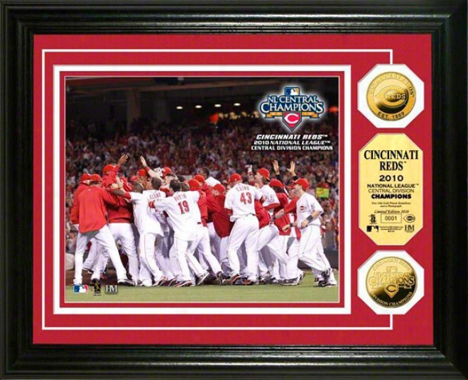 Cincinnati Reds 2010 Nl Central Division Champs 24kt Gold Coin Photo Coin