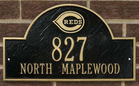 Cincinnatii Reds Black And Gold Personalized Address Wall Plaque