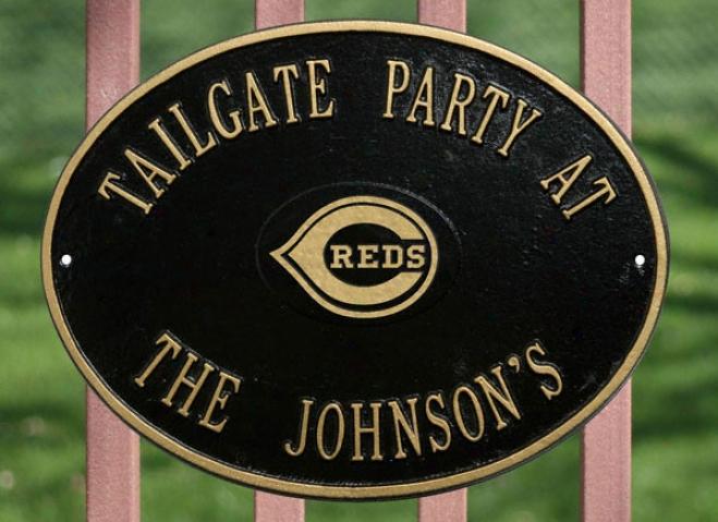 Cincinnati Reds Black And Gold Personalized Indoor/outdoor Plaque