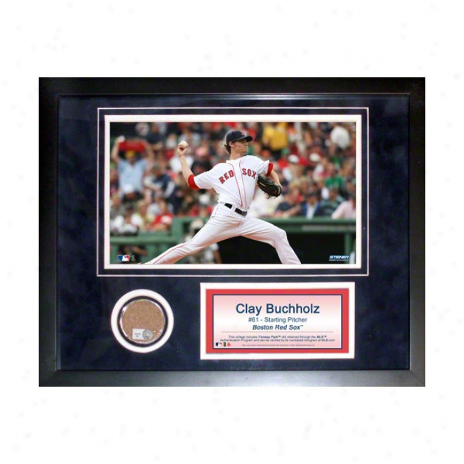 Clay Buchholz Boston Red Sox 11x14 Framed Collage With Game Used Dirt, Photo & Nameplate