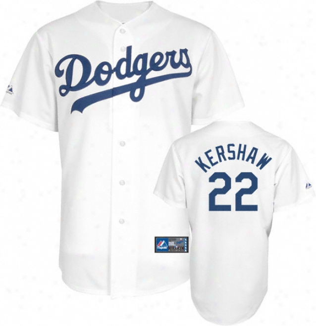 Clayton Kershaw Jersey: Adult Majestic Home White Replica #22 Los Angeles Dodgers Jersey