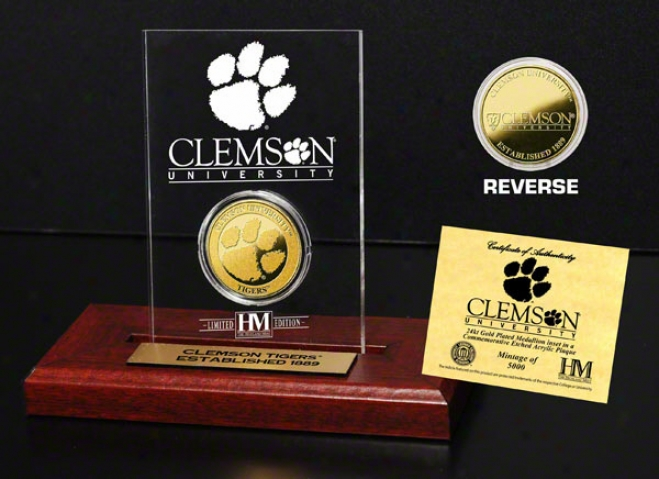 Clemson Tigers 24kt Gold Coin In Etched Acrylic